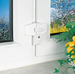 ABUS DFS95 Fenster-Zusatzschloss für Doppelflügelfenster Weiß/Braun