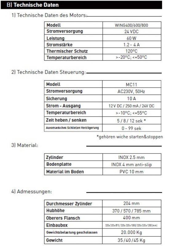 Automatische elektrische Poller Edelstahl 400 mm Hoch mit LED
