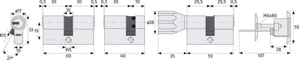 Sicherheitsschloß Keso Schließzylinder 35//35 Einbauzylinder