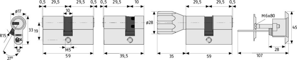 Abus Xp20s Schließzylinder Farbkappenschlüssel Sicherungskarte Not