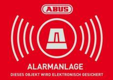 Warn-Aufkleber Alarm mit ABUS Logo, 74x52,5mm