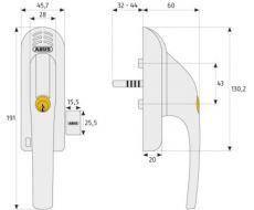 ABUS Fenstergriff mit Alarmanlage FG300A silber DIN: links