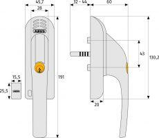 ABUS Fenstergriff mit Alarmanlage FG300A silber DIN: rechts